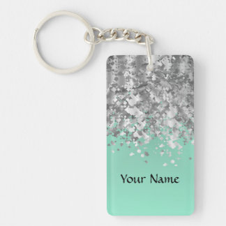 Pale mint green and faux glitter personalized keychain