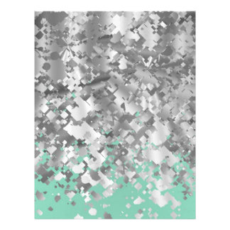 Pale mint green and faux glitter personalized letterhead