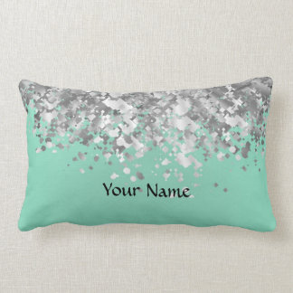 Pale mint green and faux glitter personalized lumbar pillow