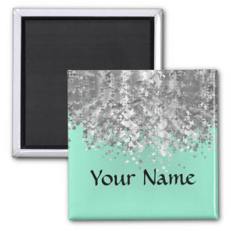 Pale mint green and faux glitter personalized magnet