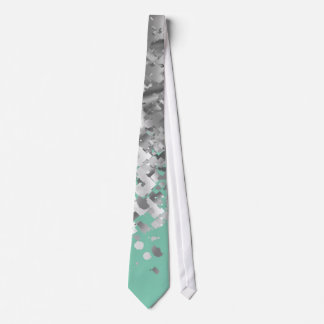 Pale mint green and faux glitter personalized neck tie