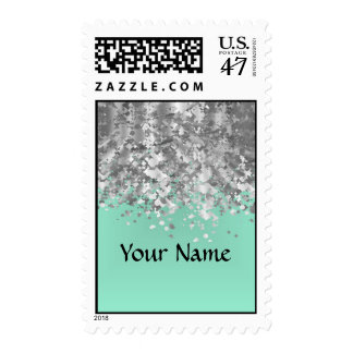 Pale mint green and faux glitter personalized postage