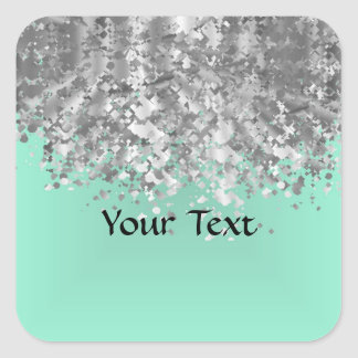 Pale mint green and faux glitter personalized square sticker