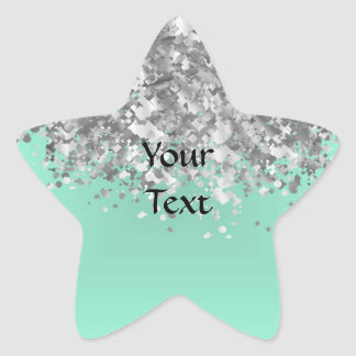 Pale mint green and faux glitter personalized star stickers
