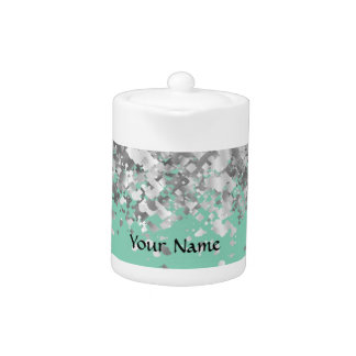 Pale mint green and faux glitter personalized teapot