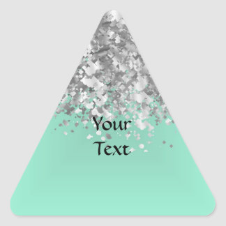 Pale mint green and faux glitter personalized triangle sticker