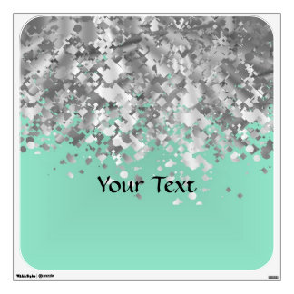 Pale mint green and faux glitter personalized wall sticker