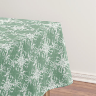 Pale Mint Green and White Damask Floral Pattern Tablecloth