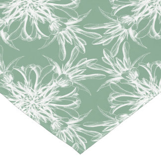 Pale Mint Green and White Floral Damask Short Table Runner
