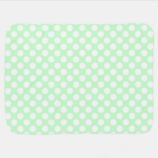 Pale Mint Green and White Polka Dots Receiving Blanket