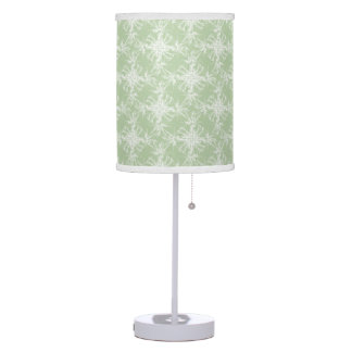 Pale Mint Green Floral Damask Table Lamp