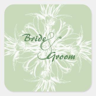 Pale Mint Vintage Floral Wedding Sticker