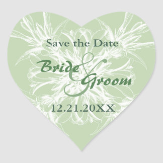 Pale Mint Vintage Wedding Save the Date Heart Stickers
