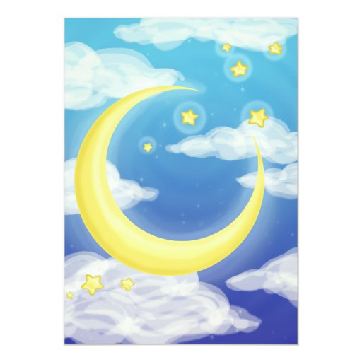 Pale Moon on Blue 5x7 Paper Invitation Card