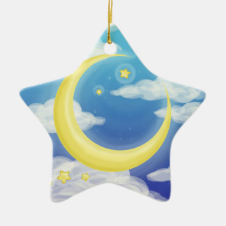 Pale Moon on Blue Ceramic Ornament