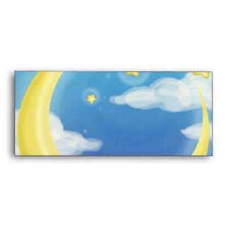 Pale Moon on Blue Envelope