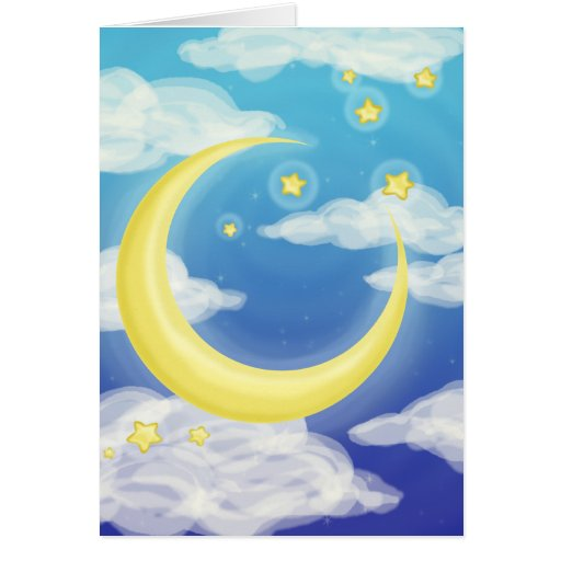 Pale Moon on Blue Greeting Card
