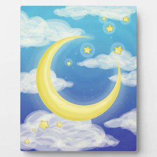 Pale Moon on Blue Plaque