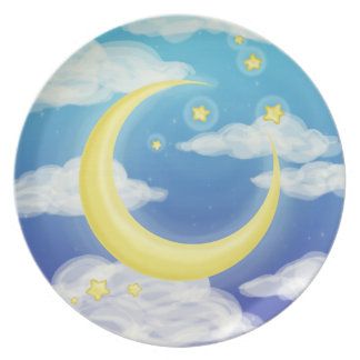 Pale Moon on Blue Plate