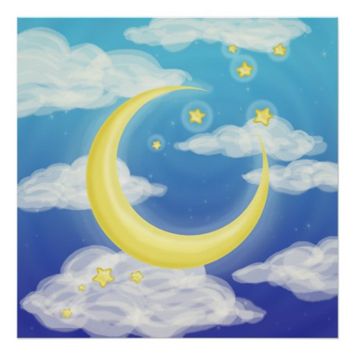 Pale Moon on Blue Poster