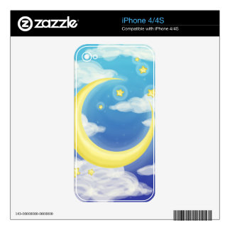 Pale Moon on Blue Skin For The iPhone 4S
