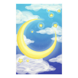 Pale Moon on Blue Stationery