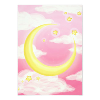 Pale Moon on Pink Card