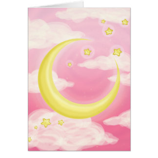 Pale Moon on Pink Greeting Cards