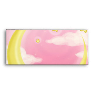 Pale Moon on Pink Envelope