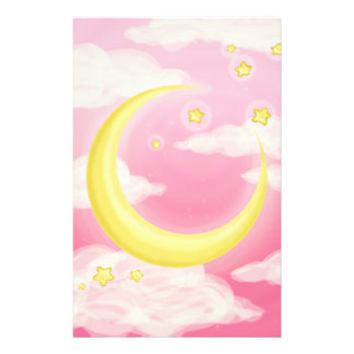 Pale Moon on Pink Stationery