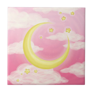 Pale Moon on Pink Tile