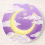 Pale Moon on Purple Beverage Coasters