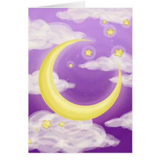 Pale Moon on Purple Cards