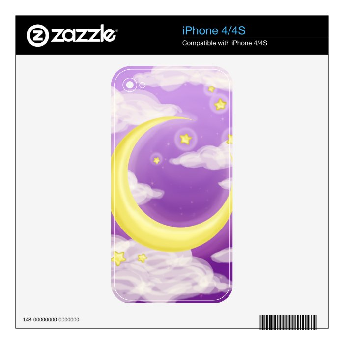 Pale Moon on Purple Decals For iPhone 4