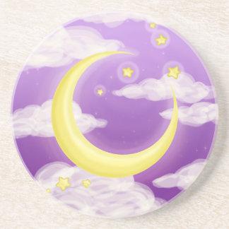 Pale Moon on Purple Drink Coaster