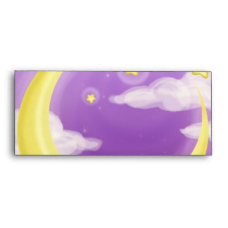 Pale Moon on Purple Envelope