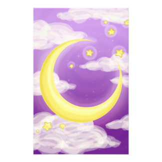 Pale Moon on Purple Personalized Stationery
