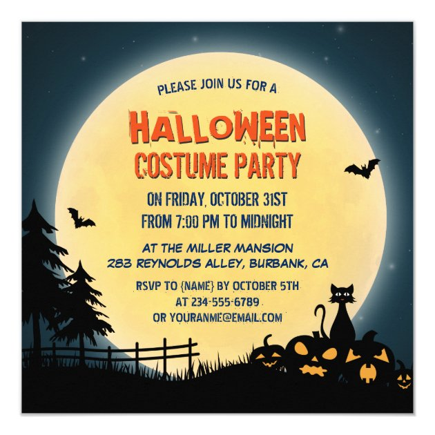 Pale Moonlight Spooky Night Sky Halloween Party Card (back side)