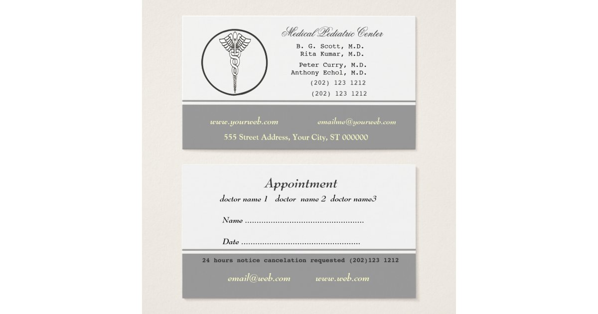 Pale Neutral Color Medical Doctor Appointment Business Card ...