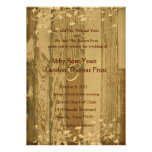Pale Old Wood Look Wedding Invitation--Gold Tint