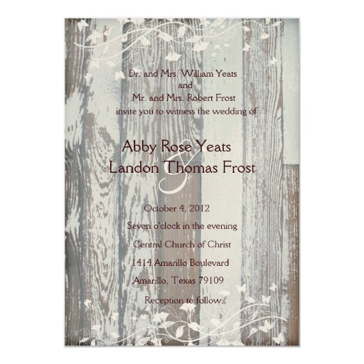 Pale Old Wood Look Wedding Invitation--Gold Tint 5x7 Paper Invitation Card