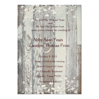 Pale Old Wood Look Wedding Invitation--Gold Tint Card