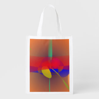 Pale Orange and Blue Contrast Grocery Bag