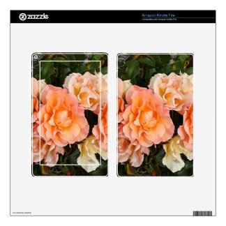 Pale orange roses in bloom in garden kindle fire decals