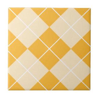 Pale Orange Sherbet Argyle Ceramic Tile