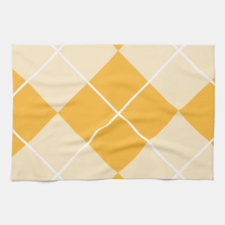 Pale Orange Sherbet Argyle Hand Towels