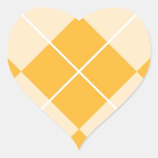 Pale Orange Sherbet Argyle Heart Sticker