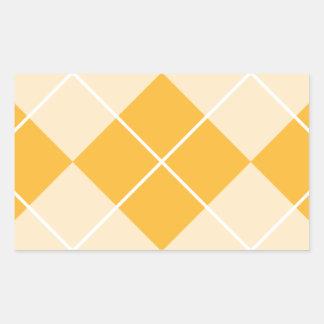 Pale Orange Sherbet Argyle Rectangular Sticker