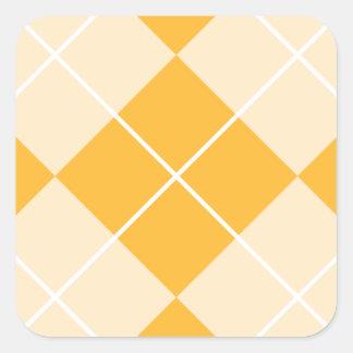 Pale Orange Sherbet Argyle Square Sticker