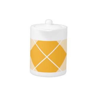 Pale Orange Sherbet Argyle Teapot